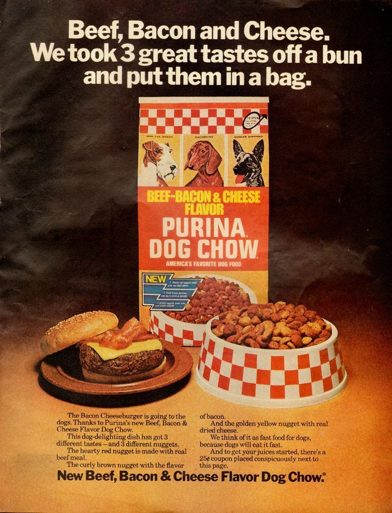 1976 Vintage Ad For Purina Cog Chow Beef Bacon Cheese Dog Food