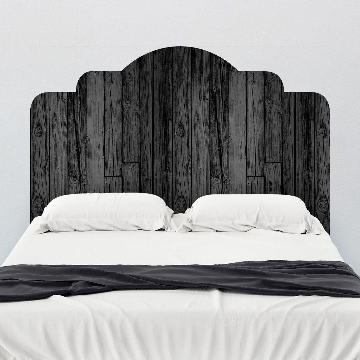 Black Stained Wood Adhesive Headboard Wall Decal Wallsneedlove