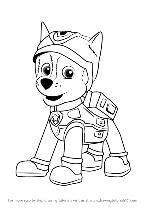 stepstep how to draw super spy chase from paw patrol