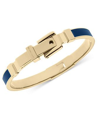 Michael Kors Bracelet, Gold-Tone Navy Blue Epoxy Buckle Bangle Bracelet - Fashion Jewelry - Jewelry & Watches - Macy's