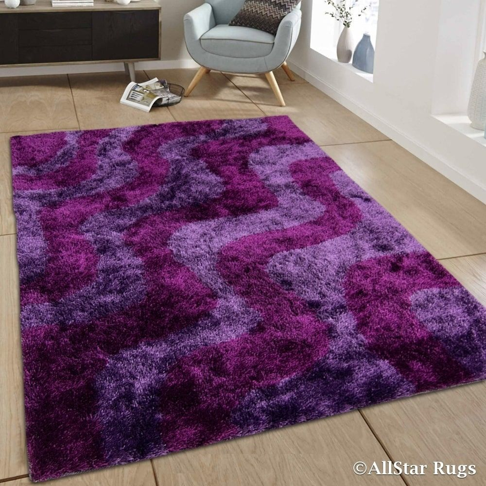 Wavy Line Design Thick High Pile Rug