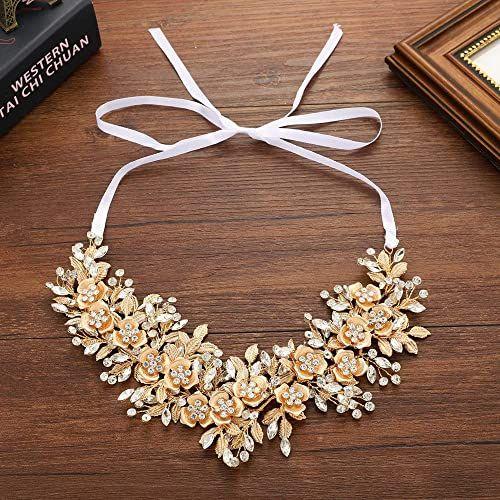 Buy mecresh Handmade Bridal Floral Headpiece Marquise Crystal Wedding Leaf Headband Hair Accessories Women Party Gold online - Lovetopfashion