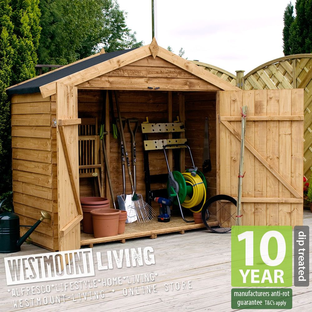 NEW 7x3FT 7x3 7x3FT OVERLAP WOODEN BIKE LOG STORE SMALL GARDEN SHED ...