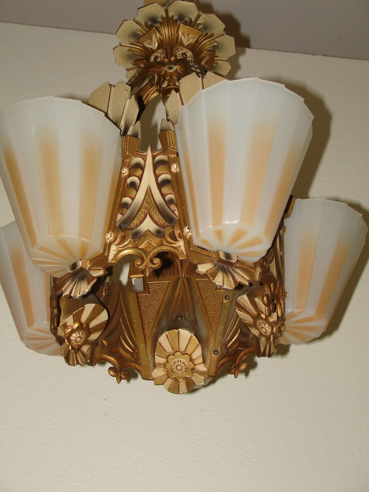 Details about art deco slip shade chandelier beardslee art deco slip shade chandelier beardsleewilliamnson all shades no chips arubaitofo Image collections