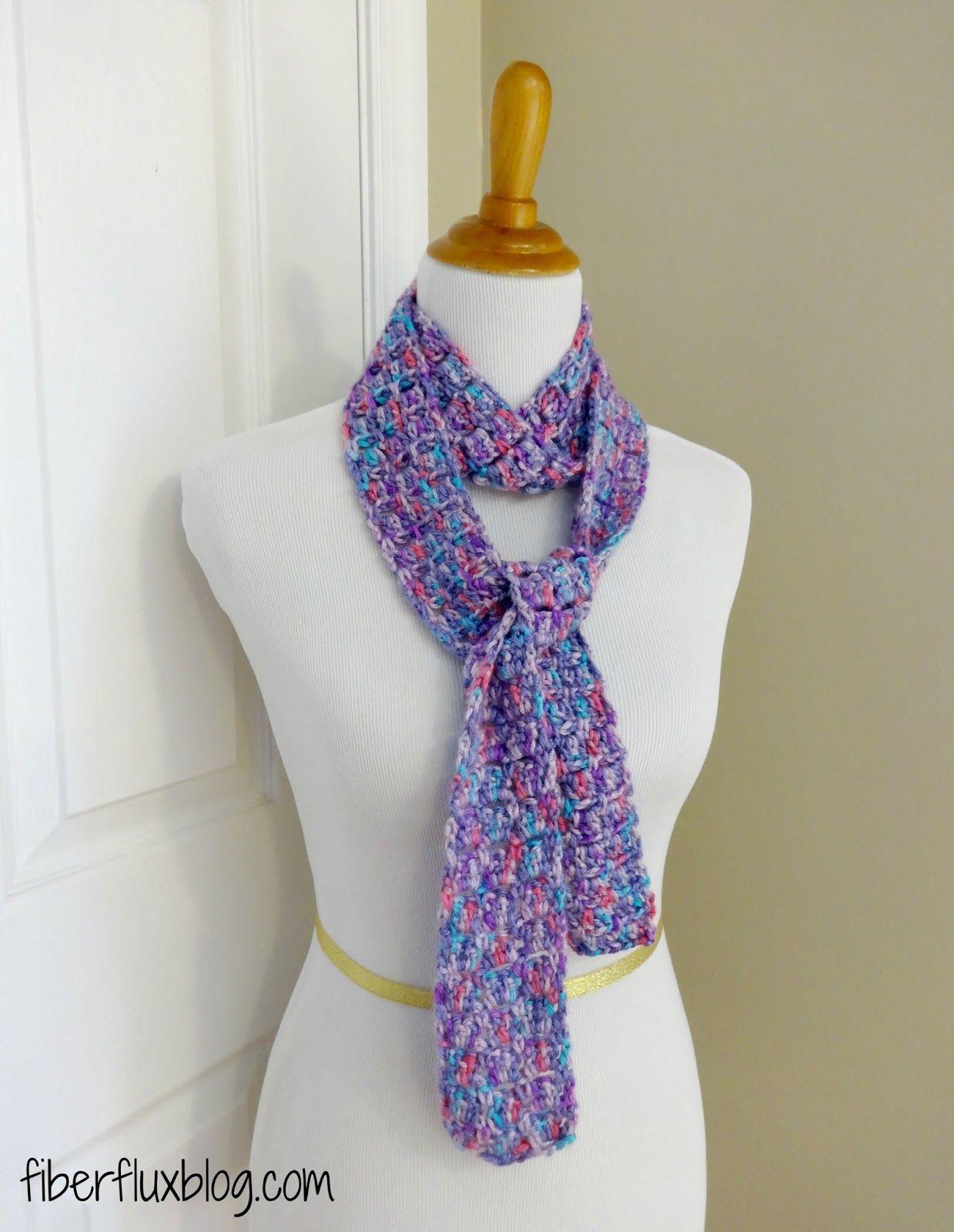 Sugar Violet Skinny Scarf, a free crochet pattern from Fiber Flux ...