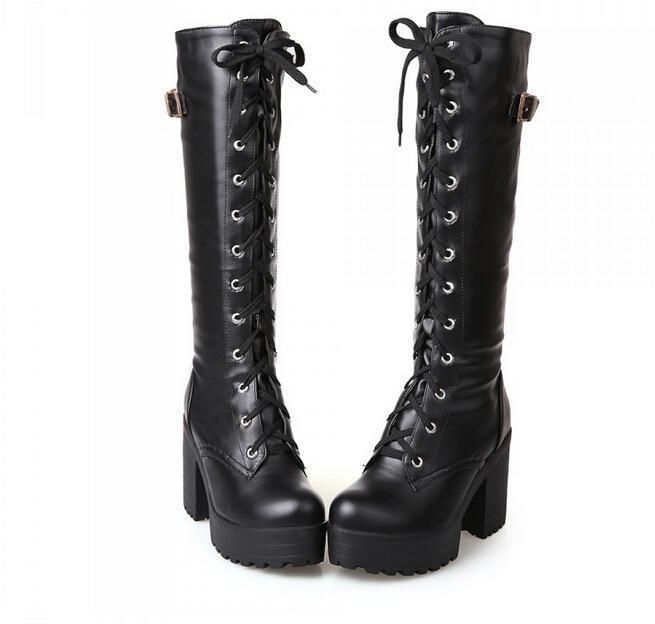Women'S Chunky Heel Round Toe Platform Lace-Up Punk Goth Creeper Mid-Calf Boots