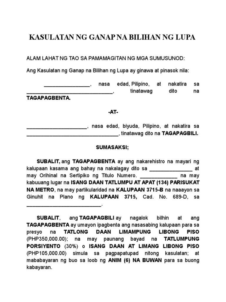 Tagalog Deed Of Absolute Sale Tagalog Resignation Letters Sale Car deed of sale pdf