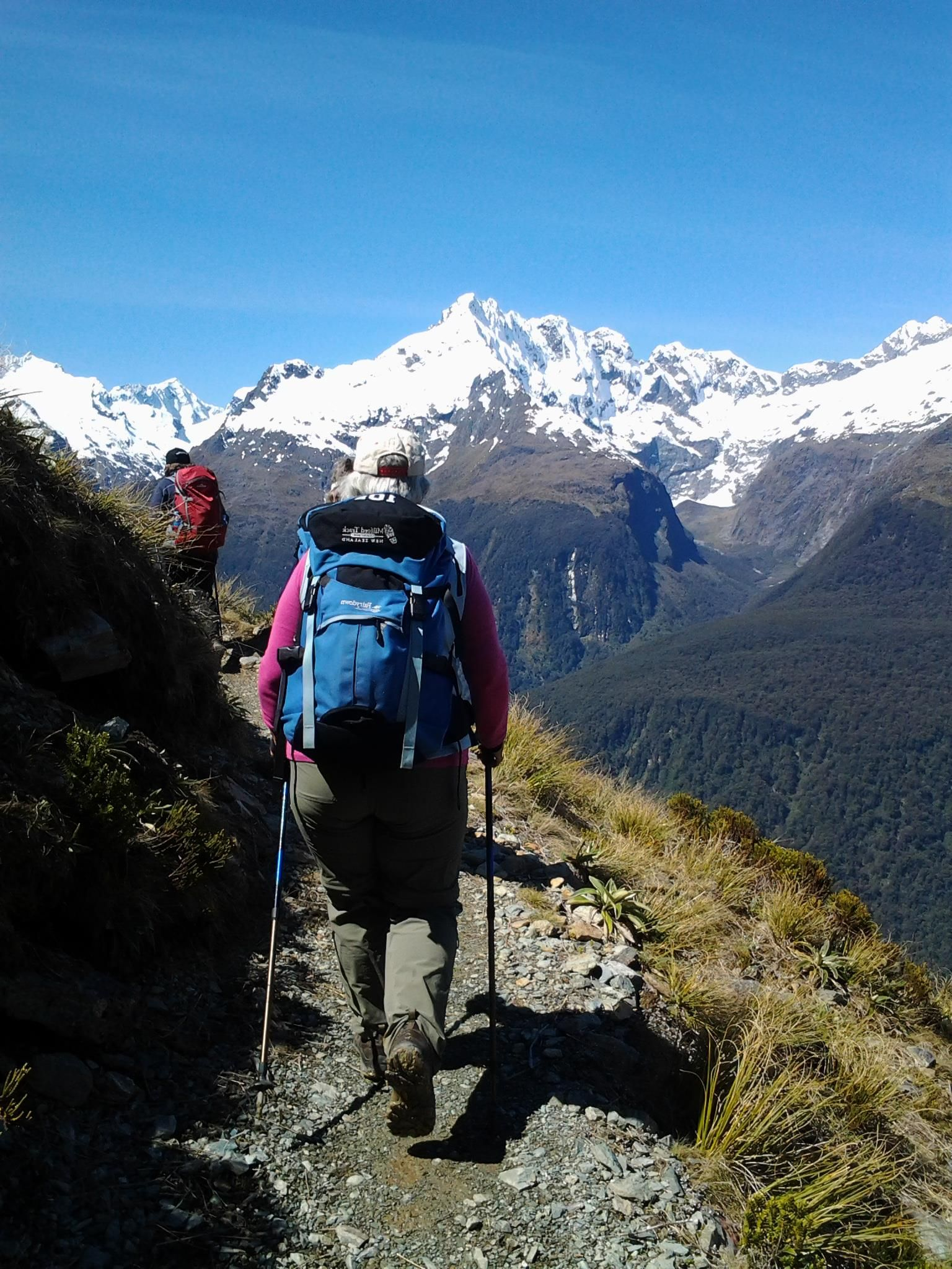 looks like walking on top of the world - a perfect walking day on the Routeburn Track last week — with Regu Villanayer.