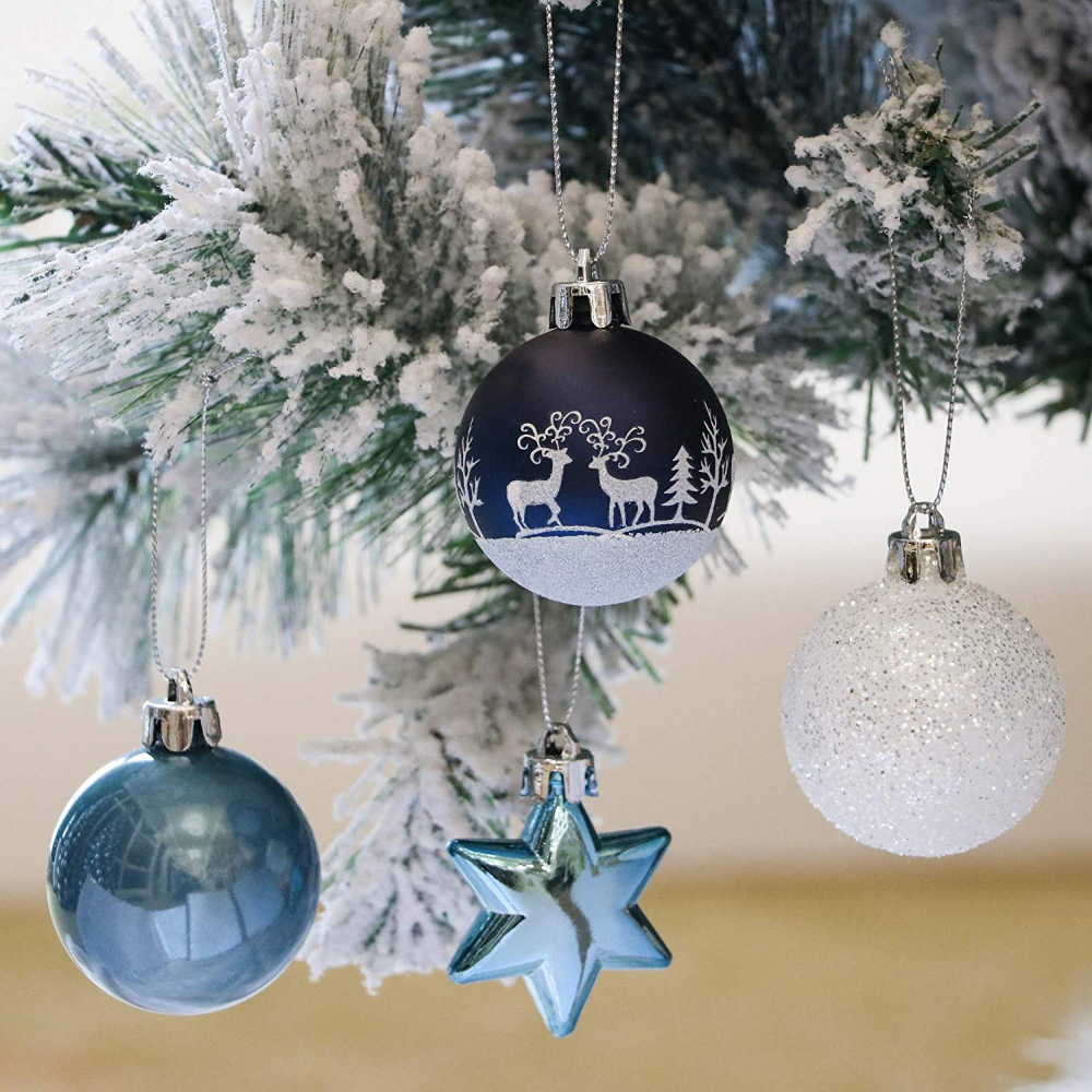 Valery Madelyn 35 Pcs Christmas Baubles Ornaments 2inch 5cm Blue White Plastic Shat Christmas Balls Decorations Christmas Tree Decorations Christmas Baubles