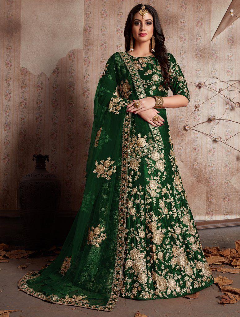 2848306756 Green Velvet Silk Embroidered Designer Lehenga Choli (Semi-Stitched ...