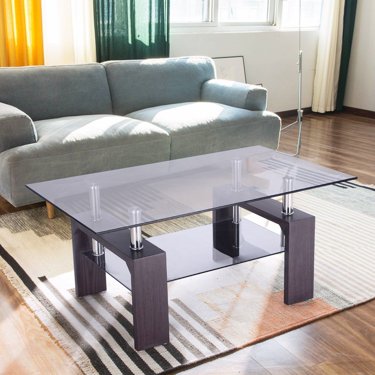 Amazon Com Tangkula Glass Coffee Table Modern Simple Style Rectangular Wood Legs End Side Table Li Glass Table Living Room Coffee Table Living Room Table Sets