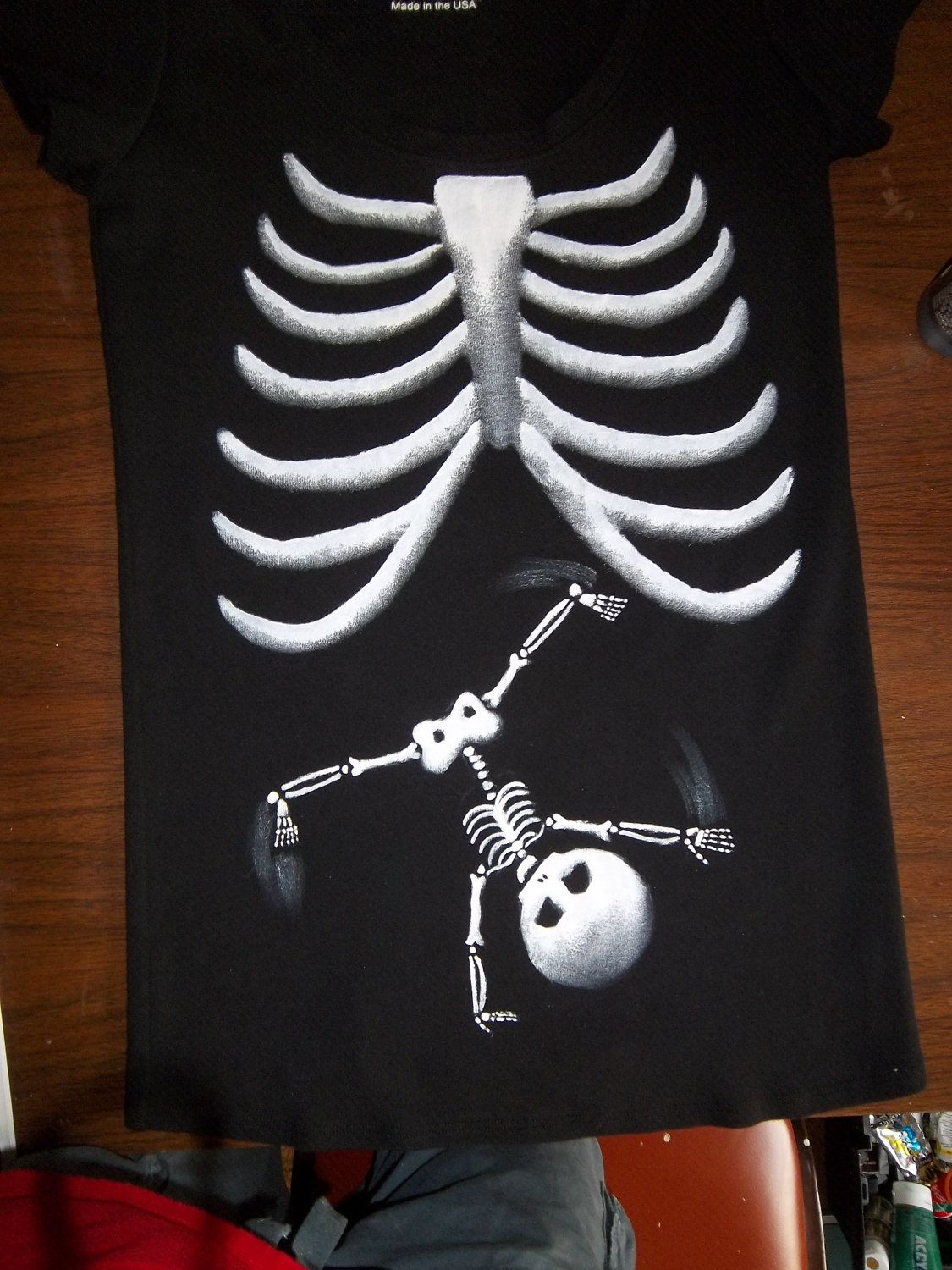 1a7dc9a7a7745 Pick Your Skeleton Baby (plus Moms Ribs) Maternity Tee Shirt - Long Sleeve.   45.00