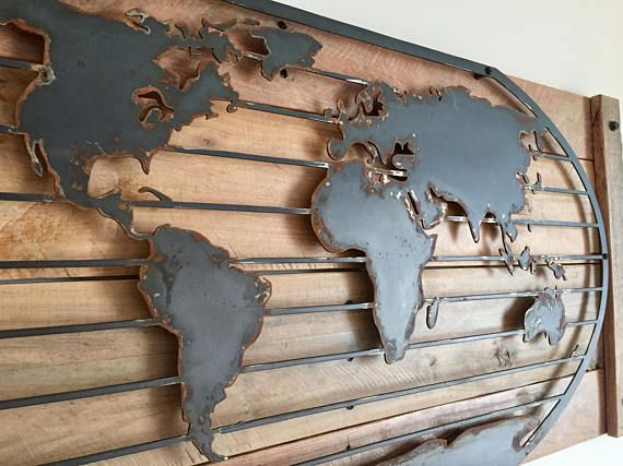 Rustic Metal World Map Magnetic World Map Decor Rustic Metal World Map Art