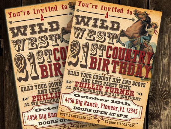 Cowboy Party Invitation Western Wild West Birthday 21st Printable Diy Digital