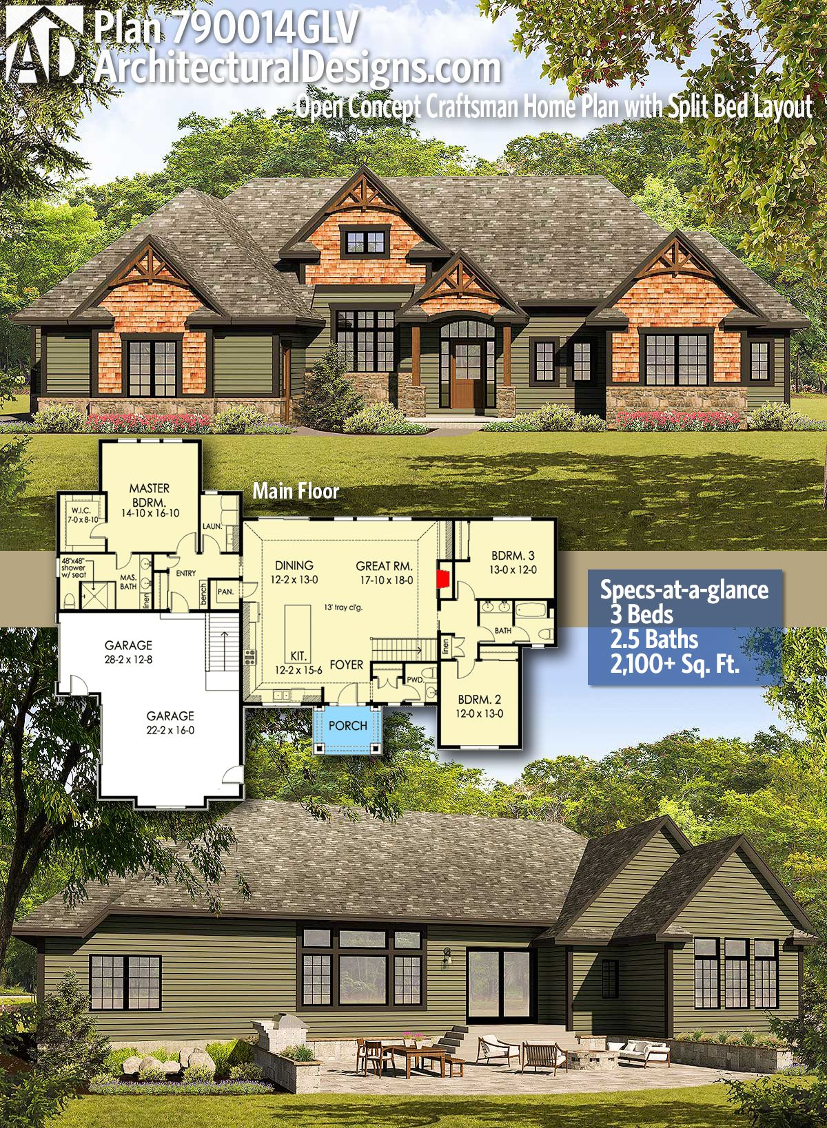 Plan 790014glv Open Concept Craftsman Home Plan With Split Bed Layout Craftsman House Plans Craftsman House New House Plans