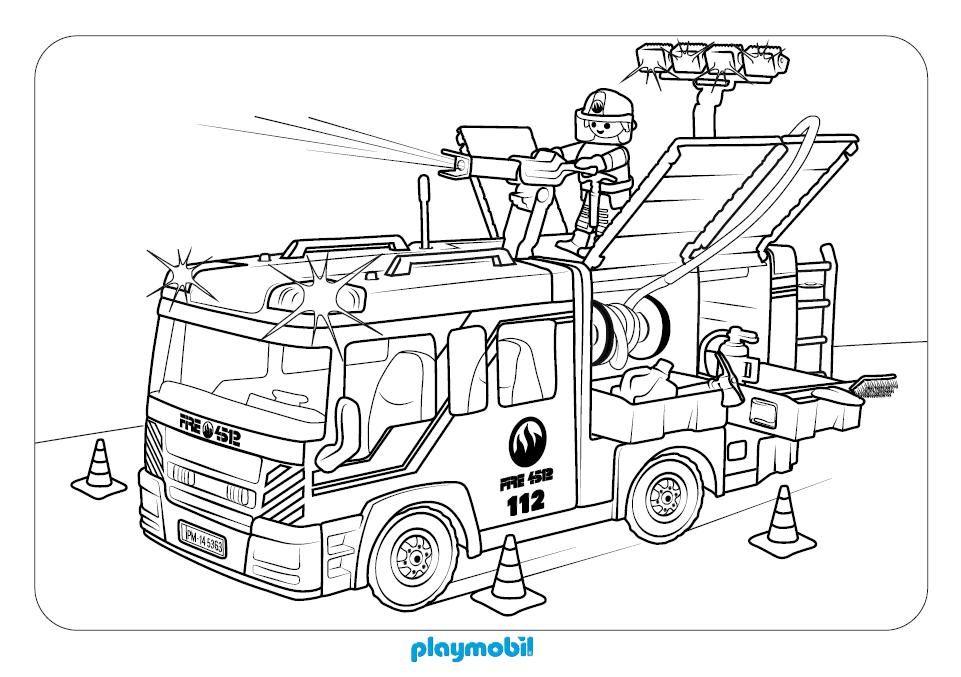 camión de bomberos playmobil para colorear en playmypla