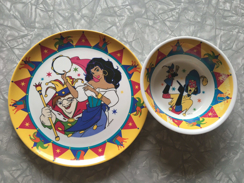 1990 S Disney The Hunchback Of Notre Dame Kids Melamine Dish Ware Set By Sweetemotionvintages On Etsy Kids Melamine Melamine Dishes Vintage Dinnerware
