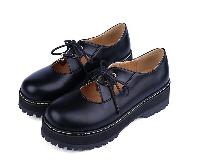 Black Leather Shoes Plus Size 40 Small 33 Spring Thick Harajuku Retro Round  Toe Flat Shoe cc71debe07a3