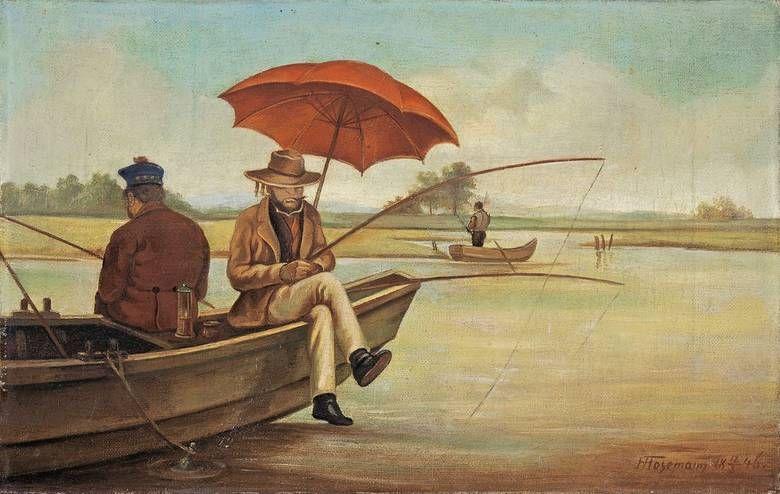 Angler Im Boot 1846 Theodor Hosemann Classic Art Painting Illustration Art