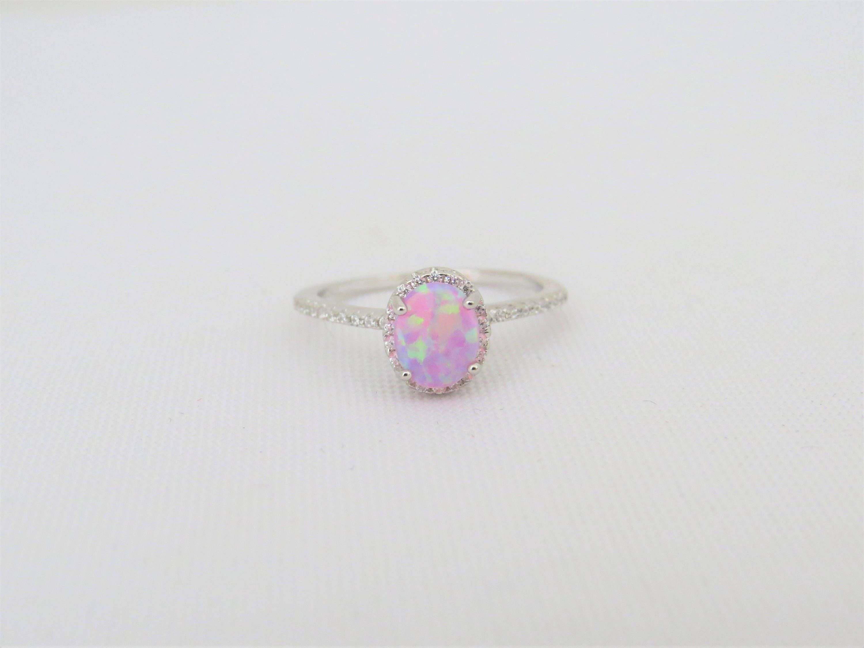 Vintage Sterling Silver White Opal /& White Topaz Engagement Ring Size 7