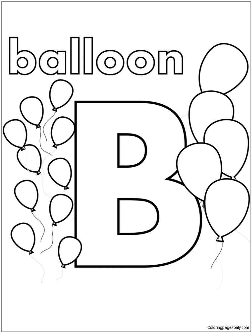 b is for balloon coloring page  alphabet coloring pages