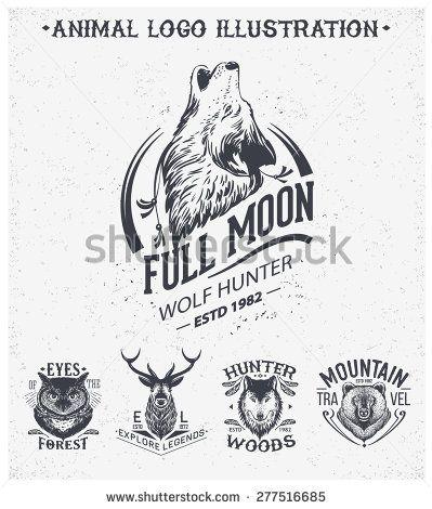 Vintage Set Animal Labels Badges Retro Vector Design Graphic