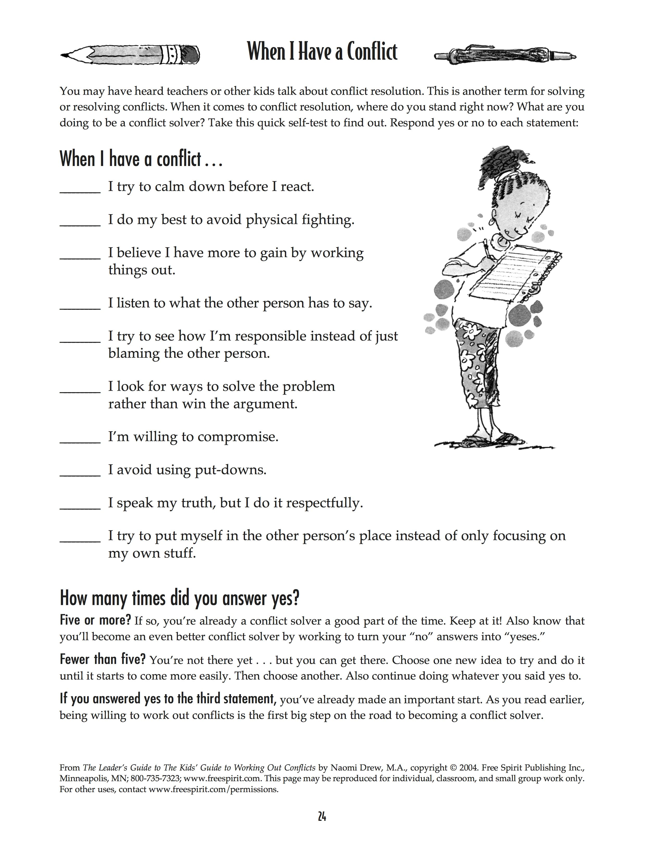 Free Printable Worksheet When I Have A Conflict A Quick Self Test