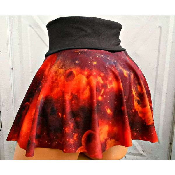 Galaxy Nebula skater Skirt Space festival fashion geek planet ($25) ❤ liked on Polyvore featuring skirts, mini skirts, circle skirt, short mini skirts, red circle skirt, flared skater skirt and flared mini skirt