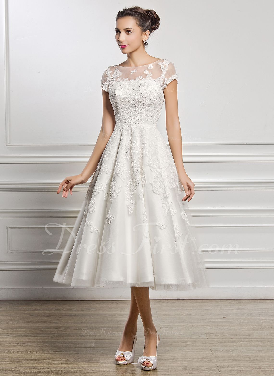 Aline illusion tealength tulle lace wedding dress with