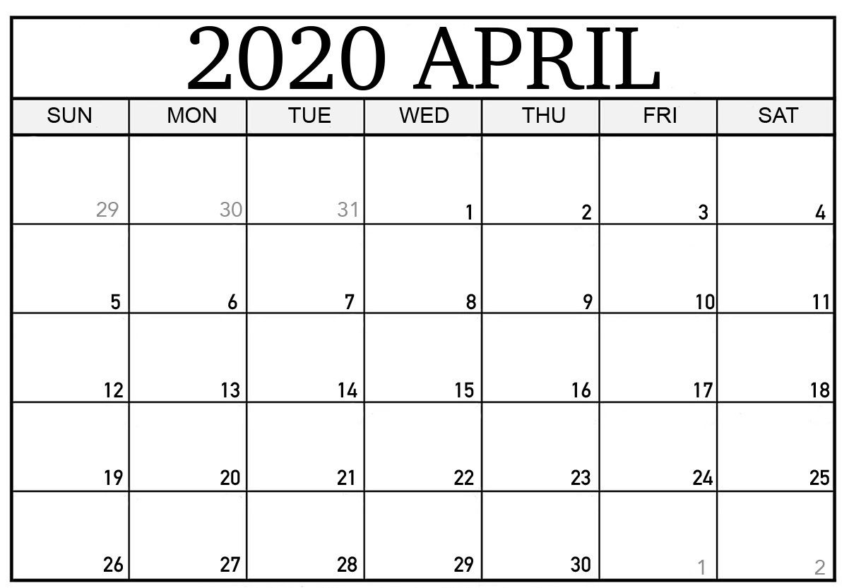 Free Printable April 2020 Calendar Template Cute And Floral Design