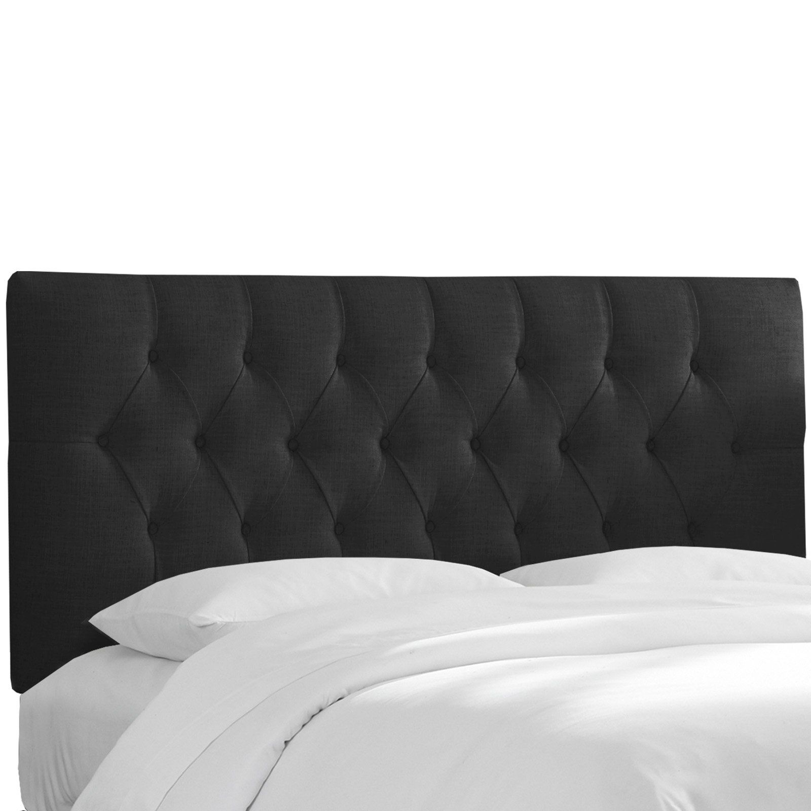 Skyline Tufted Linen Upholstered Headboard Black Size Twin