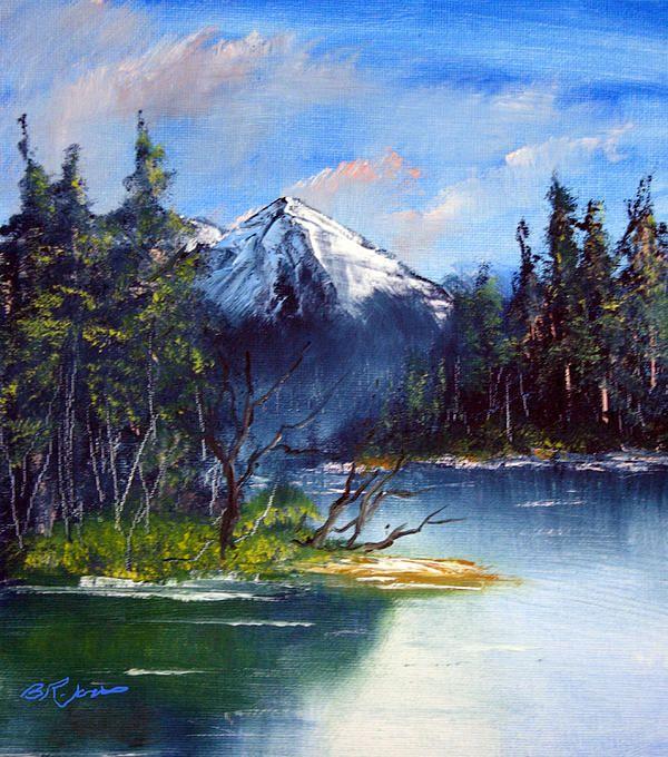 Mountain Lake Oil Painting Of A Scenic Mountain Lake Arte Paisajes