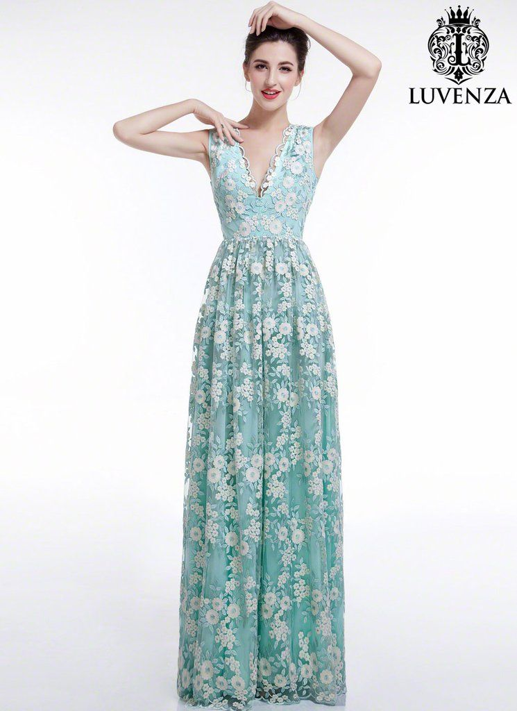 Aquamarine White Floral Embroidery Maxi Length Wedding Dress with V ...