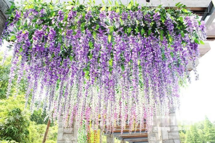 1 piece artificial silk wisteria fake garden hanging flower plant 1 piece artificial silk wisteria fake garden hanging flower plant vine wedding home decoration product 2zth mightylinksfo Choice Image
