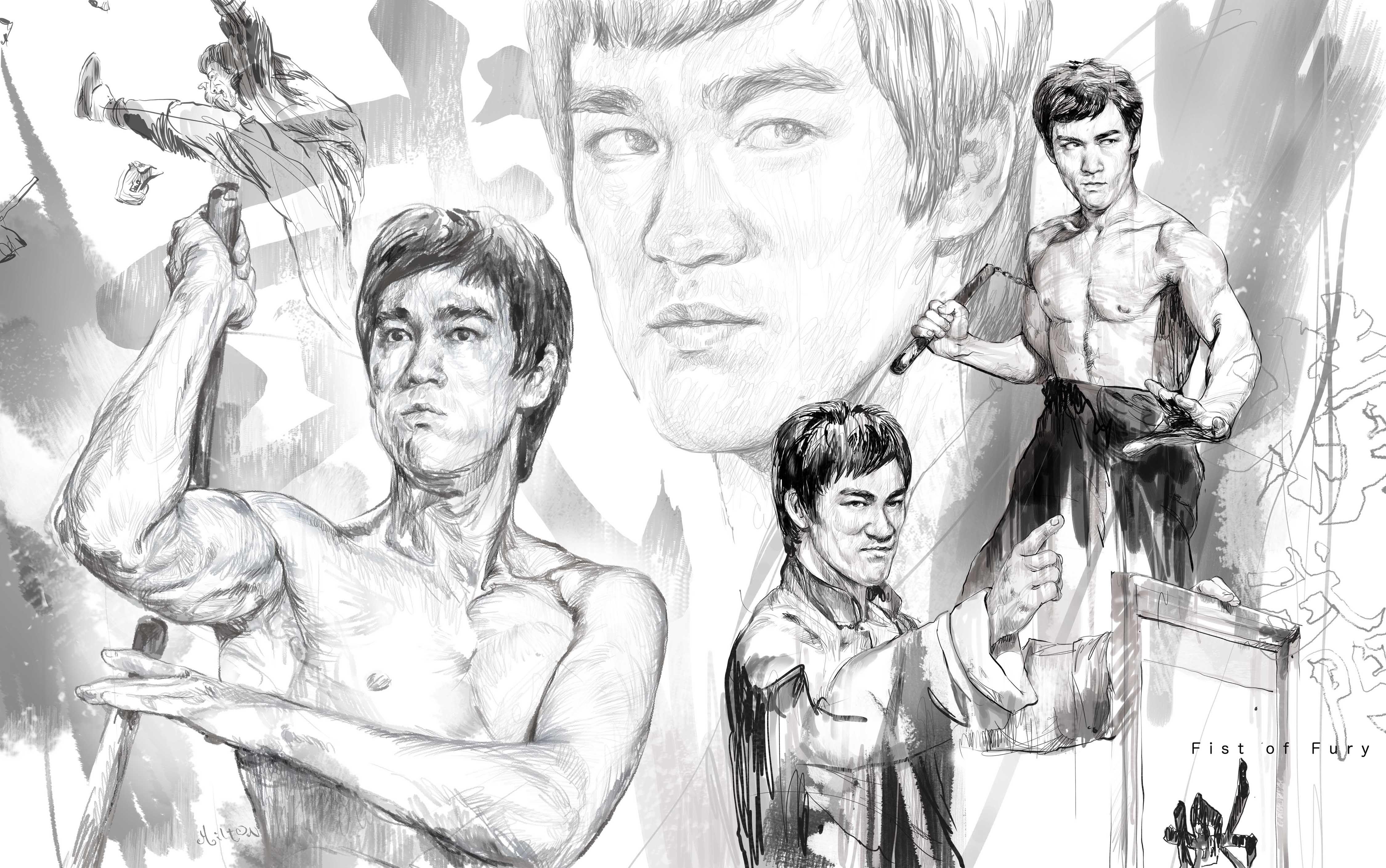 Sketching of bruce lee movie 02 fist of fury