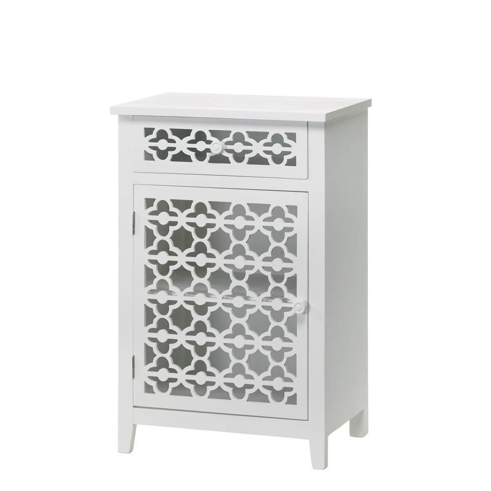 Bathroom storage drawers - Moroccan Style White Lace Like Bathroom Cabinet Shelf Drawer Boho Stand Table