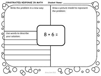 Nd Grade Math  Constructed Response Performance Tasks  Students