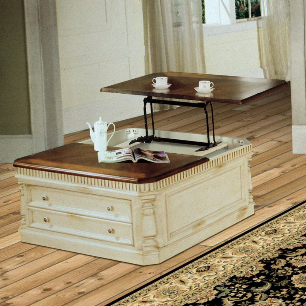 Parker House Square Lift Top Tail Table Antique Cream Coffee Tables At Hayneedle