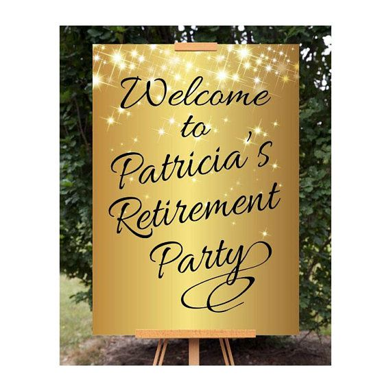 Retirement Welcome Sign, Printable Retirement Sign, Sparkly Gold