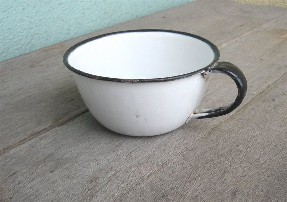 Vintage Enamelware Cup Black and White by QuietRainz on Etsy, $5.50