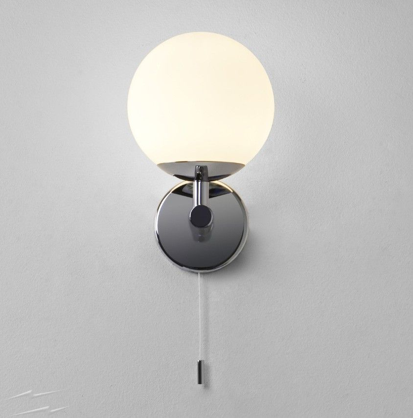 Astro Lighting California Bathroom Wall Light In Polished Chrome With Pull Cord Switch And White Opal
