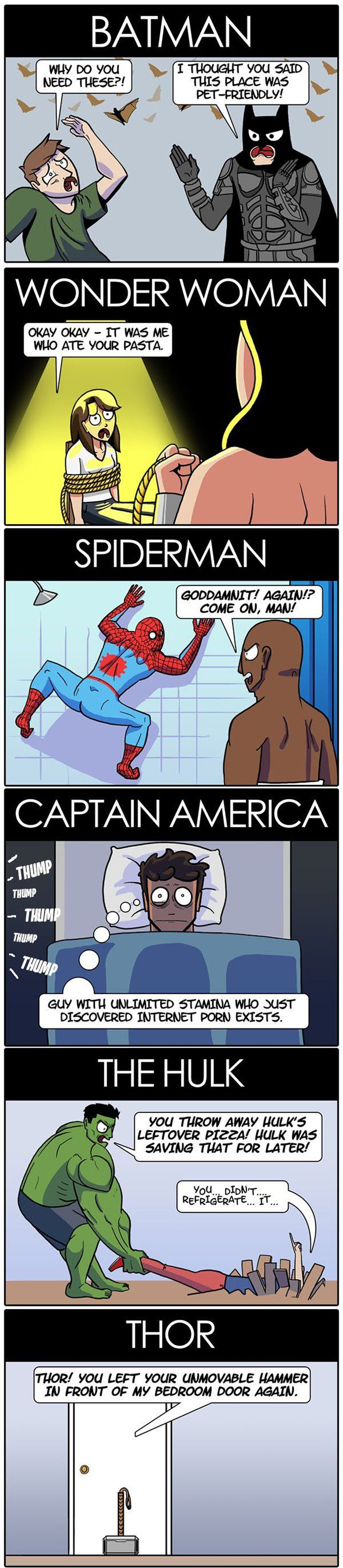 Funny superhero roommates cartoon