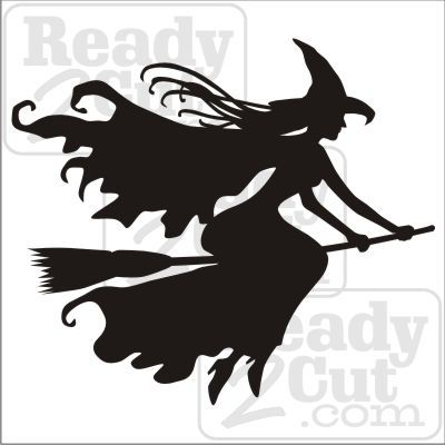 witch flying witch on a broom silhouette - Flying Halloween Witch