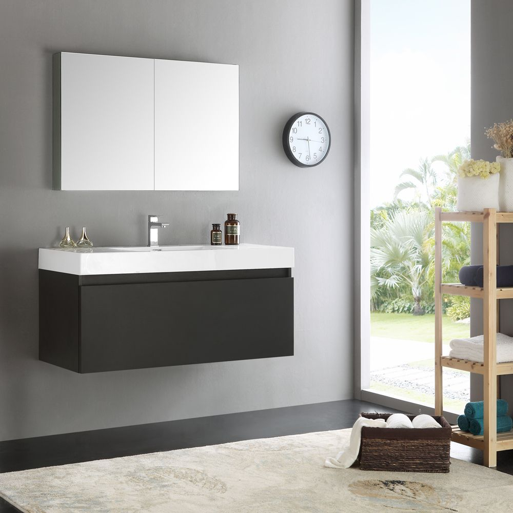 48 Medicine Cabinet Fresca Mezzo Modern Black 48Inch Wallhung Bathroom Vanity With