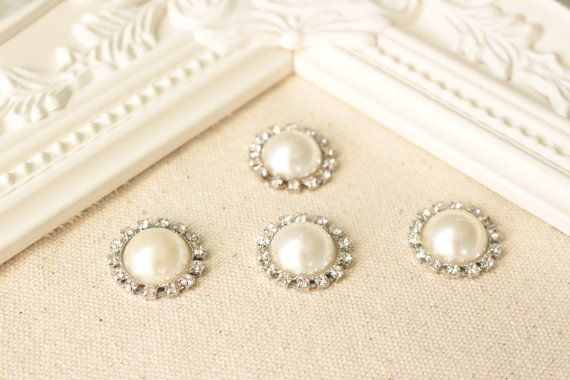 Ivory Rhinestone Pearl Push Pins Pearl by fluteofthehour on Etsy