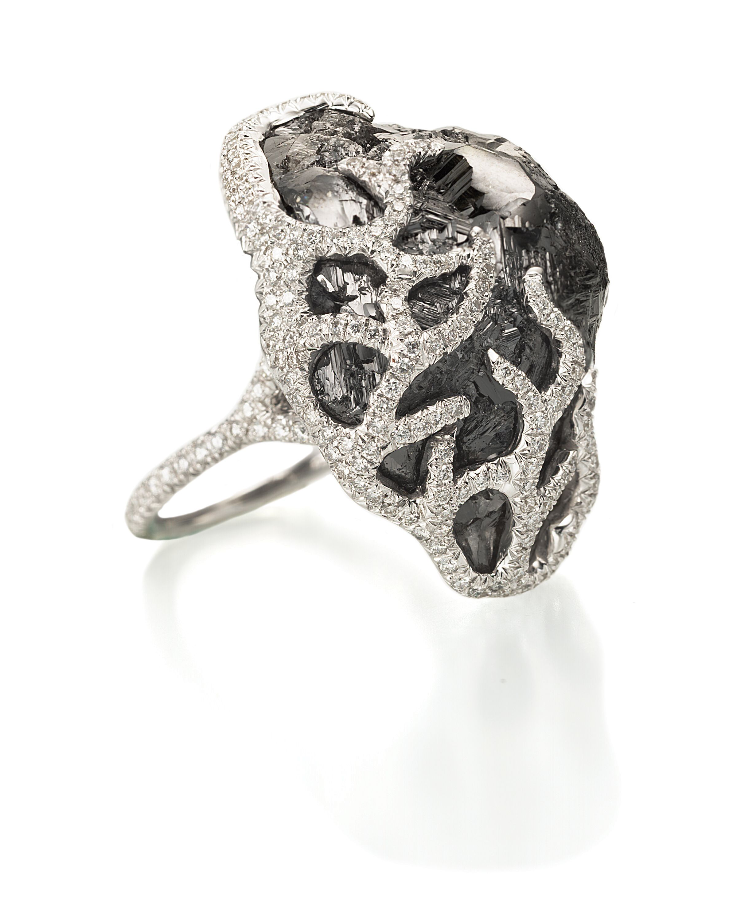 A 56 carat rough black diamond cocktail ring definitely only for