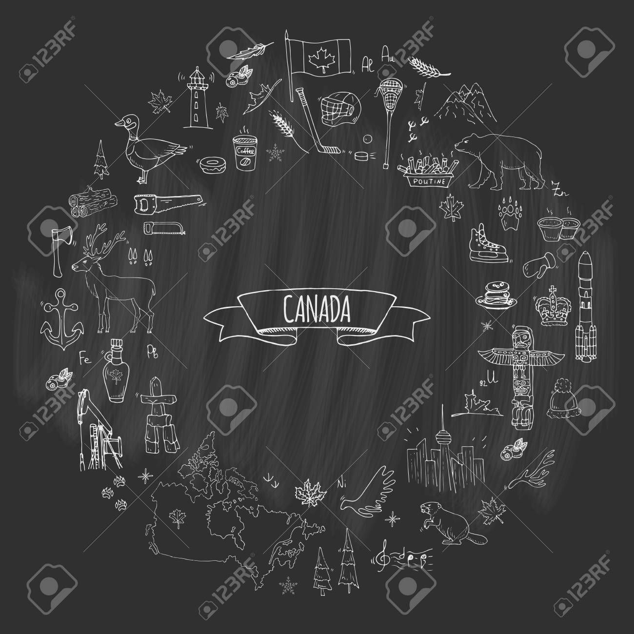 Hand drawn doodle Canada icons set Vector illustration