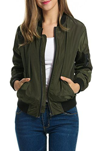5ef2cd515c91e Zeagoo Women Classic Solid Biker Jacket Zip Up Bomber Jacket Coat Army  Green XL    More info could be found at the image url.