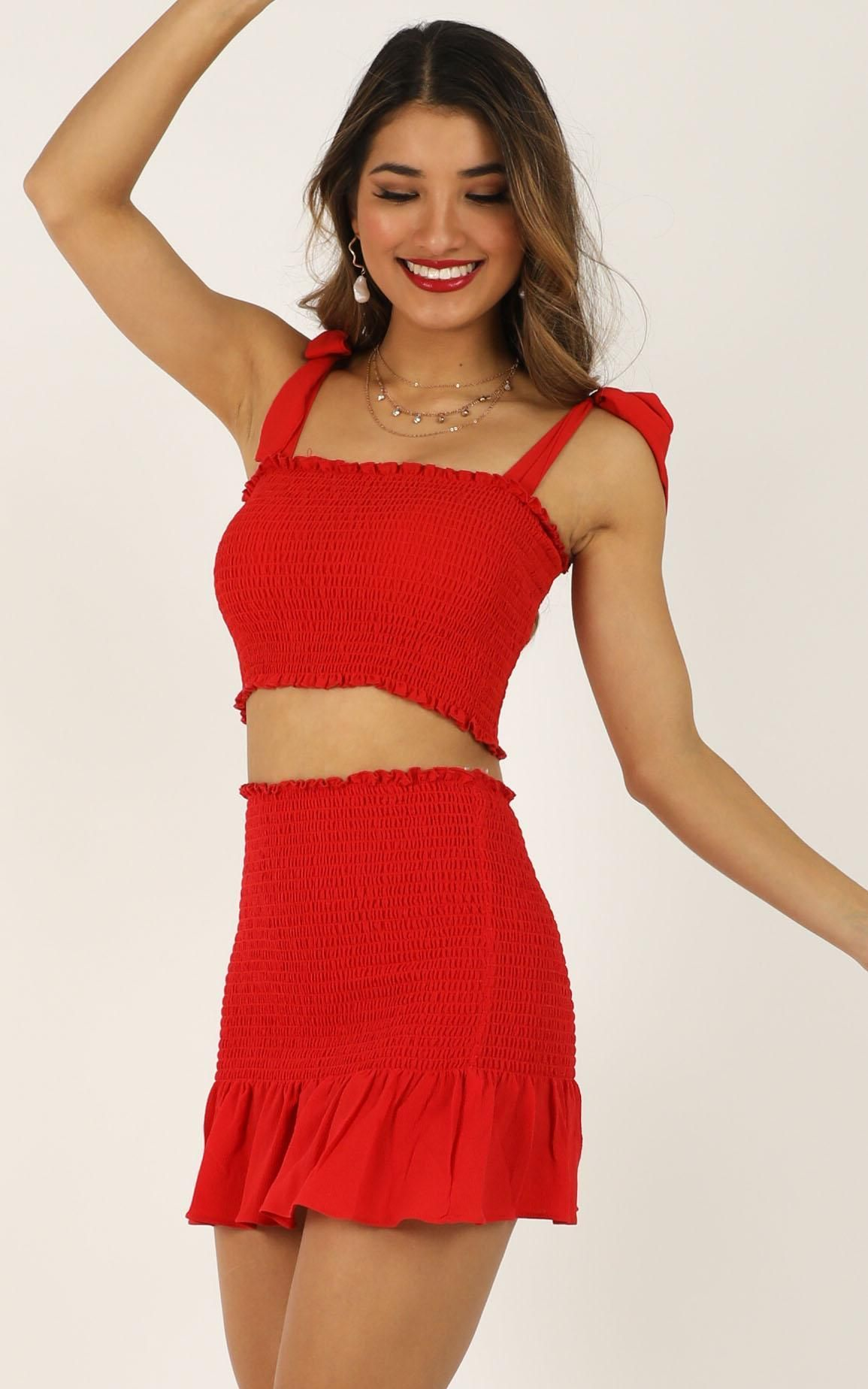 Bright spot two piece set in red showpo summer fashion