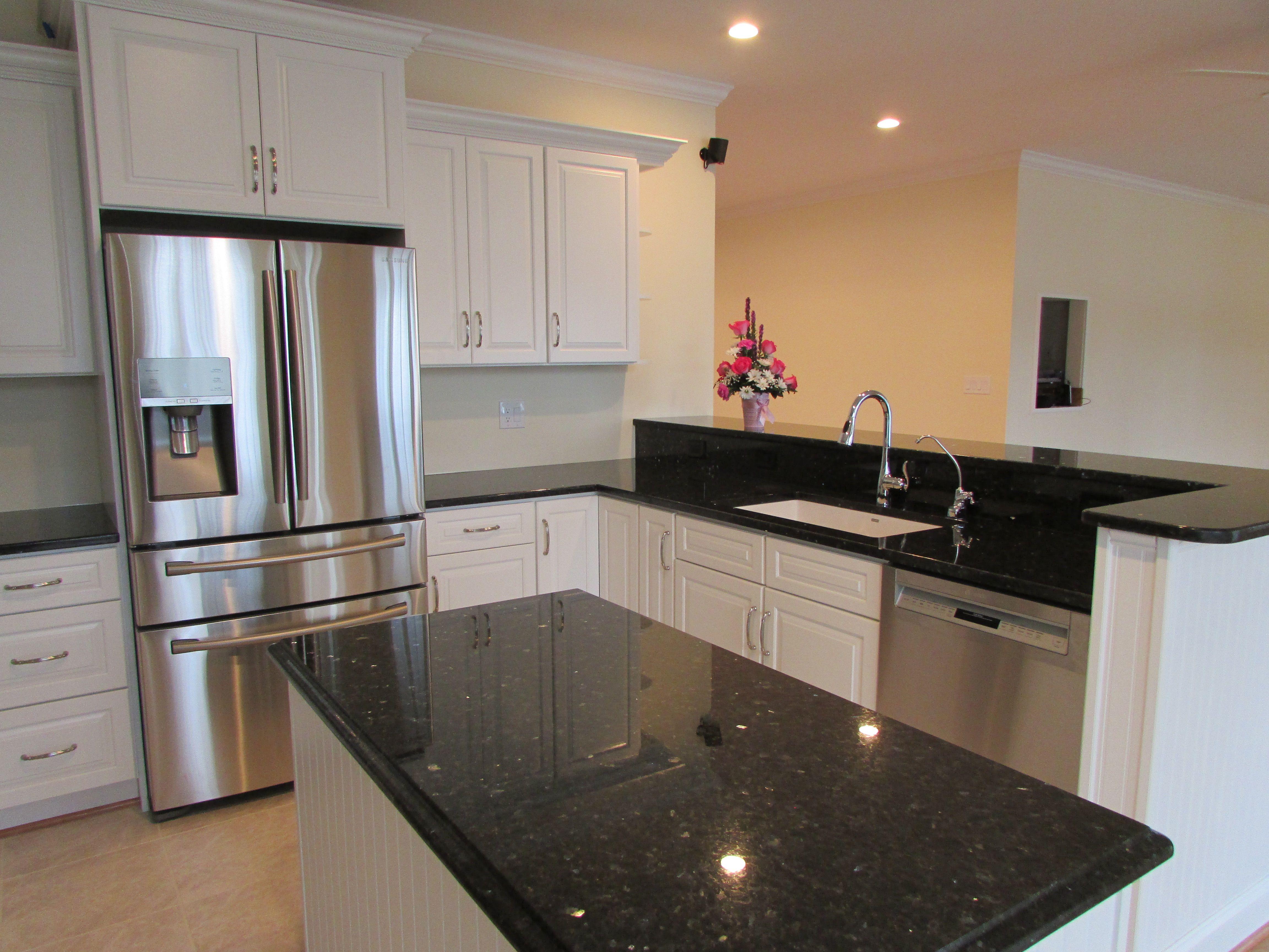 Timeless White Cabinet Kitchen With U0027Emerald Pearlu0027 Granite Tops